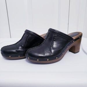 CLARKS Artisan Black Leather Platform Clogs 9.5